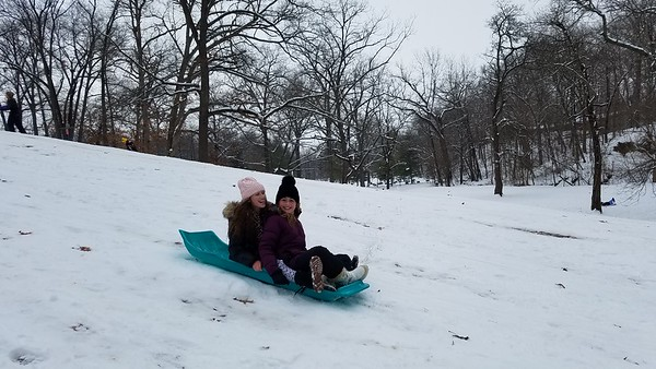 Mia Kinkelaar and Live Hoene sled down the hill at Community Park on Jan. 12, 2019.