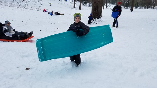 Charlie Bierman, 8, Effingham, picks up his sled after a slide down the hill at Community Park. Dawn Schabbing photo