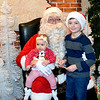 Hailey and Logan Miller with Santa at Joe Pizza and Pasta during Pizza with Santa.