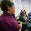 MICHAEL CATERINA | THE GOSHEN NEWS<br /> English instructor Laura Barnett talks with student Neiralit Quintero during a class at Goshen College March 16, 2016.
