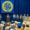 Fairfield's Jeno Leavitt, at podium, delivers a speech during Sunday's Fairfield High School Class of 2021 Commencement in Benton. All students including speaker are the top 10 academic All Stars.