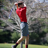 GREG KEIM | THE GOSHEN NEWS<br /> Senior Evan Beck tees off on the first hole Saturday in the Goshen Invitational at Maplecrest Counrry Club.