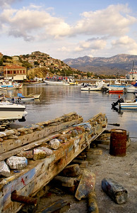 View across the fishing port from Molyvos