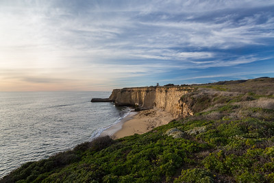 Sunset. Shoreline near Shark Fin Cove. Davenport, CA, USA
