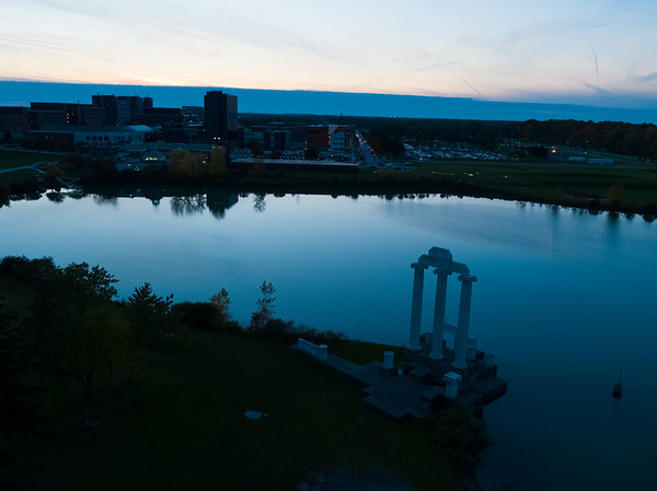 Baird Point and Lake La Salle at dusk (the blue hour) on North Campus in the fall of 2018.<br /> <br /> Photographer: Douglas Levere