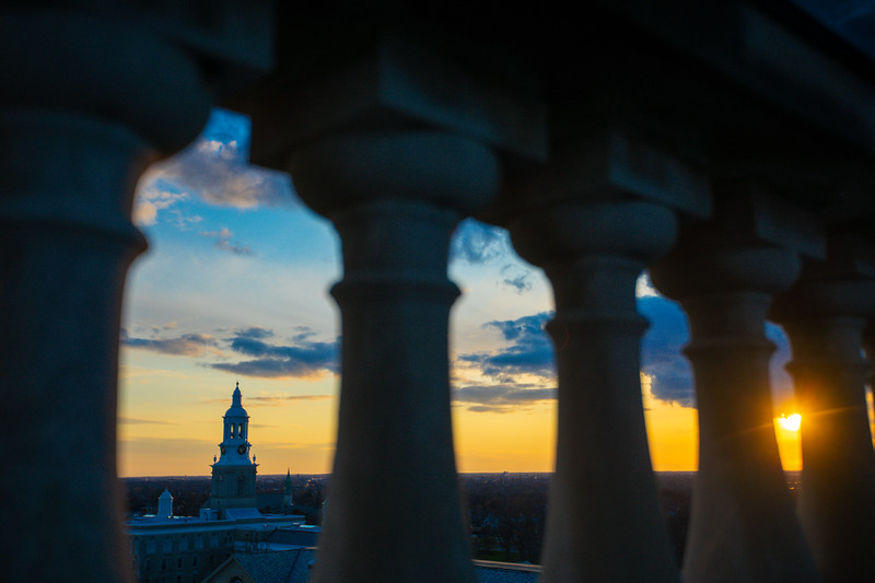 The sun sets over Hayes Hall and South Campus in April 2020. <br /> <br /> Photographer: Douglas Levere