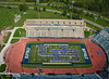 Aerial images of the new student welcome event, including the Human UB tradition, at the UB Stadium during Welcome Weekend.<br /> <br /> Photographer: Mark Adams