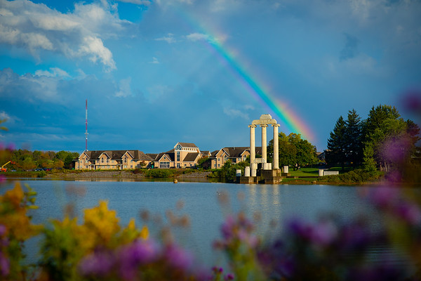 A rainbow captured with Baird Point after a fall rain in September 2019.<br /> <br /> Photographer: Douglas Levere