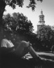 Man lounging in front of Hayes, University Archives, 1966, call number: 20A:22 (9) © UB Archives <br /> <br /> Please contact University Archives at lib-archives@buffalo.edu for permission to use this image.