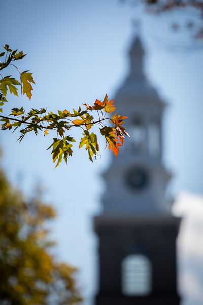 The Hayes Hall bell tower on South Campus on a sunny day in fall, photographed in October 2019.<br /> <br /> Photographer: Meredith Forrest Kulwicki