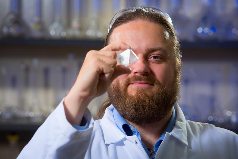 Portrait of Chemistry Assistant Professor Jason Benedict in his Natural Sciences Complex Lab<br /> <br /> Photographer: Douglas Levere