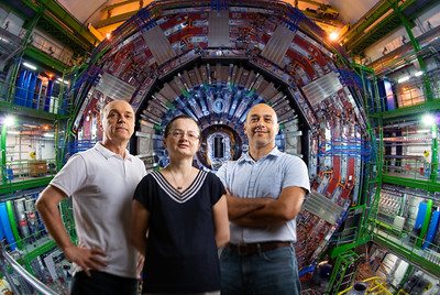 Photo illustration: Left to right: University at Buffalo physicists Avto Kharchilava, Ia Iashvili and Salvatore Rappoccio.   Photographer: Douglas Levere / University at Buffalo / CERN
