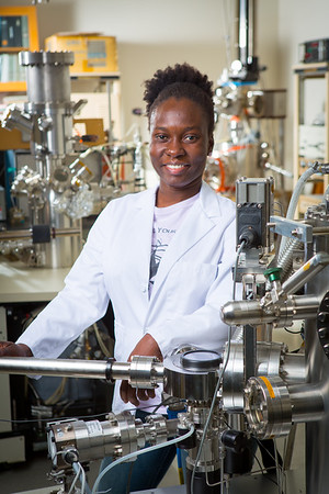 Portrait of Chemistry PhD Student Pennante Naa Ayikailey Bruce Vanderpuije in the Natural Sciences Complex  Photographer: Douglas Levere