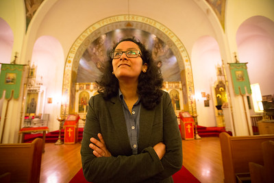 Assistant Professor Ashima Krishna in the School of Architecture and Planning at Saints Peter & Paul Orthodox Church in the Lovejoy Section of Buffalo, NY  Photographer: Douglas Levere