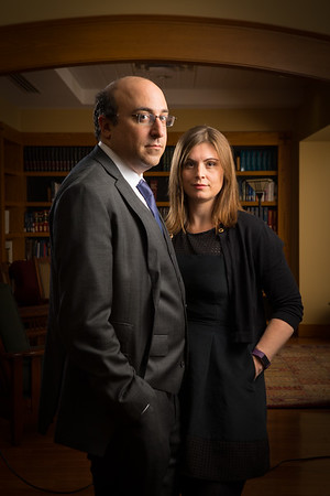 Portrait of Jonathan Manes and Nicole Hallet, of the Law School, in O'Brian Hall.  Photographer: Douglas Levere