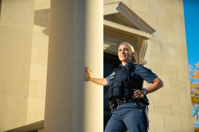 Portrait of UPD officer Stacy Tuberdyke at Abbott Hall in October 2019.<br /> <br /> Photographer: Douglas Levere
