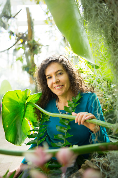 Associate Professor in Anthropology, Ana Mariella Bacigalupo at the Buffalo and Erie County Botanical Gardens<br /> <br /> Photographer: Douglas Levere