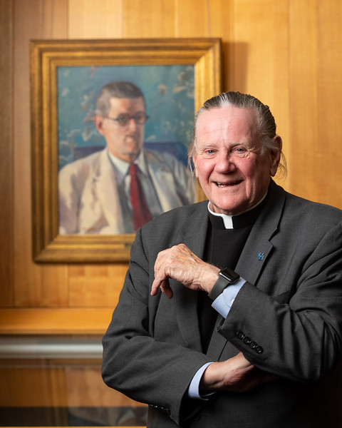 Rev. Msgr. J. Patrick Keleher visits the James Joyce Collection at the Library Archives in Capen Hall in September 2019.<br /> <br /> Photographer: Douglas Levere