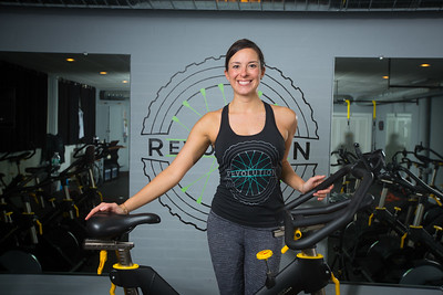 UB Alum Coleen Kirk at her Spinning Studio Revolution  Photographer: Douglas Levere