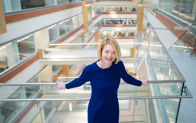 Portrait of Kelly Hayes McAlonie in the new Medical School Building in downtown, Buffalo, NY.  Photographer: Douglas Levere