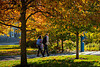 Srudents walk on South Campus on a sunny day in fall, photographed in October 2019.<br /> <br /> Photographer: Meredith Forrest Kulwicki