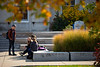 Students outside Harriman Hall on South Campus on a sunny day in fall, photographed in October 2019.<br /> <br /> Photographer: Meredith Forrest Kulwicki