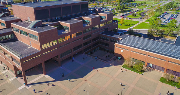 Aerial photos of Capen and Norton Halls on north campus with Founders Plaza.<br /> <br /> Photographer: Douglas Levere