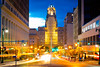Long exposure photos of City Hall in downtown Buffalo<br /> <br /> Photographer: Douglas Levere