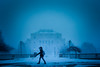 Students on South Campus during a winter squall<br /> <br /> Photographer: Douglas Levere