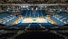 Updated basektball court floor in Alumni Arena.  <br /> <br /> Photographer: Paul Hokanson/UBBulls.com
