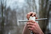 Students collect samples from a bog in Elba, New York in February 2020. The trip was led by Jason Briner and Elizabeth Thomas, both with the geology department. <br /> <br /> Photographer: Douglas Levere
