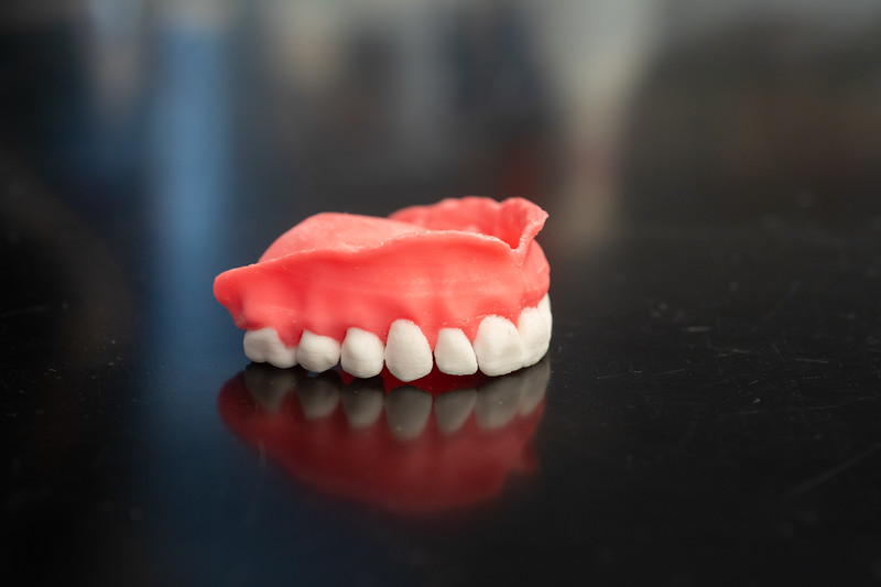 UB researchers, led by Praveen Arany, professor in the Department of Oral Biology in the School of Dental Medicine, created dentures using 3-D printers. The dentures are printed using acrylamide, the current go-to material for denture fabrication and include microscopic capsules that periodically release Amphotericin B, an antifungal medication.<br /> <br /> Photographer: Douglas Levere