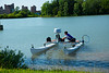 Undergraduate Engineering Students Test Their Autonomous Boat on Lake LaSalle on the North Campus<br /> <br /> Photographer: Douglas Levere
