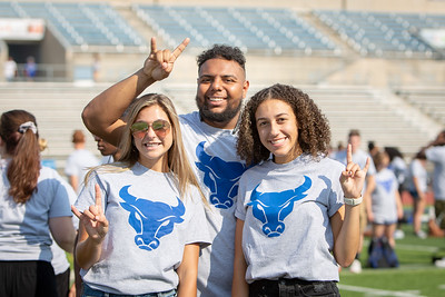 New student welcome, including the Human UB tradition, at the UB Stadium during Welcome Weekend.  Photographer: Meredith Forrest Kulwicki