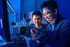 Huamin Li, a professor in Electrical Engineering recently received an NSF Career award for his work. He is photographed in his research lab with students in Davis Hall in February 2020.<br /> <br /> Photographer: Douglas Levere