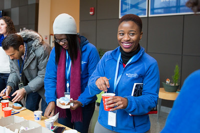 Get Blue Friday pop-up event with donuts and coffee at the NYS Center of Excellence in Bioinformatics and Life Sciences, CBLS.  Photographer: Meredith Forrest Kulwicki