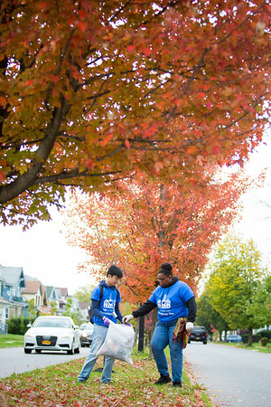 Students volunteer on Community Day, planeting bulbs and cleaning up garden beds in a neighborhood near South Campus.  Photographer: Meredith Forrest Kulwicki