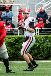 Georgia quarterback Jake Fromm (11) looks to throw during the spring practice game at Sanford Stadium in Athens, GA., on Saturday, April 20, 2019 (Photo: Nicole Seitz)  UGA spring practice game at Sanford Stadium in Athens, GA., on Saturday, April 20, 2019 (Photo: Nicole Seitz)