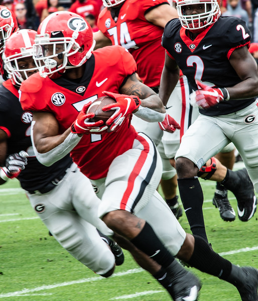Georgia's D'Andre Swift (7) runs the ball during the spring practice game at Sanford Stadium in Athens, GA., on Saturday, April 20, 2019 (Photo: Nicole Seitz)  UGA spring practice game at Sanford Stadium in Athens, GA., on Saturday, April 20, 2019 (Photo: Nicole Seitz)