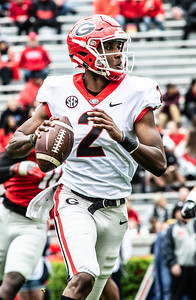 Georgia quarterback D'Wan Mathis (2) looks to throw during the  UGA spring practice game at Sanford Stadium in Athens, GA., on Saturday, April 20, 2019 (Photo: Nicole Seitz)