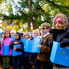 JOED VIERA/STAFF PHOTOGRAPHER-Lockport, NY-  Students prepare to read the poem In Reply to In Flanders Field at Outwater Park during the Veterans Day ceremony.