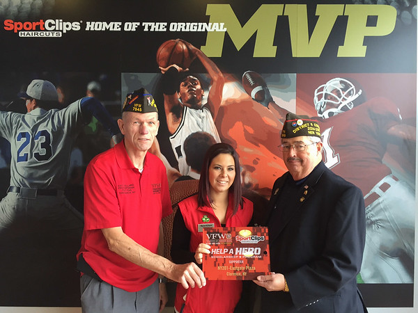 Left to Right<br /> Dave Willard, Commander Erie County Council VFW Department of NY<br /> Jillian Minotti, Shop Manager<br /> Dan McMahon, Programs Chairman Department of NY VFW