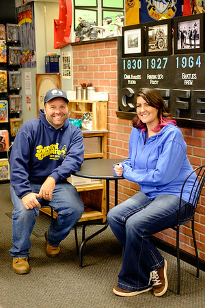 JOED VIERA/STAFF PHOTOGRAPHER-Lockport , NY-Owners Jay and Amy Berent sit at Pulp 716.