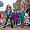JOED VIERA/STAFF PHOTOGRAPHER-Lockport, NY-    Peyton Waterbury, 7, Kieara Waterbury, 12, Violet Hernandez, 5, Brynliegh Waterbury, 6, and Caidin Waterbury hold tote bags they got during Lockport's Shop small event.