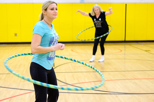 JOED VIERA/STAFF PHOTOGRAPHER-Pendleton, NY-Sally Covey and Patti Owczarzak hula-hoop at Regan Intermediate School.