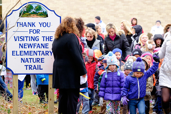 JOED VIERA/STAFF PHOTOGRAPHER- Newfane, NY- Newfane Elementary School students  enter their new nature trail after its ribbon cutting ceremony.