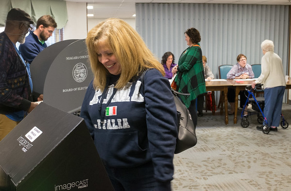 JOED VIERA/STAFF PHOTOGRAPHER-Lockport, NY-Republican candidate for assembly Mike Norris at picks up his ballot at Briarwood Manor.