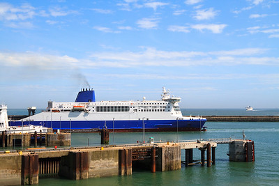 Ship leaving Dover harbor in England