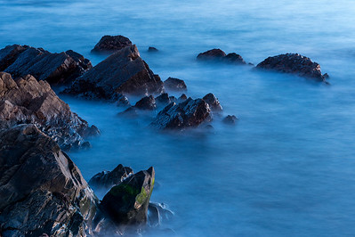 Silky Surf & Coastal Rocks in Evening Twilight