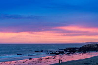 Sunset and Beachgoers